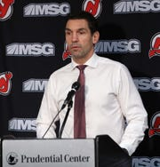 Alain Nasreddine, interim head coach of the New Jersey Devils, speaks with the media following a loss to the Vegas Golden Knights at the Prudential Center on Dec. 3, 2019 in Newark, New Jersey.