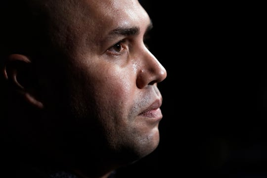 New York Mets manager Carlos Beltran listens to a question during the Major League Baseball winter meetings, Tuesday, Dec. 10, 2019, in San Diego.