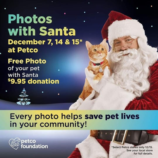 Head over to Petco at 3050 E. Lohman in Las Cruces Saturday, Dec. 14 and Sunday, Dec. 15 to have your pet's photo taken with Santa.
