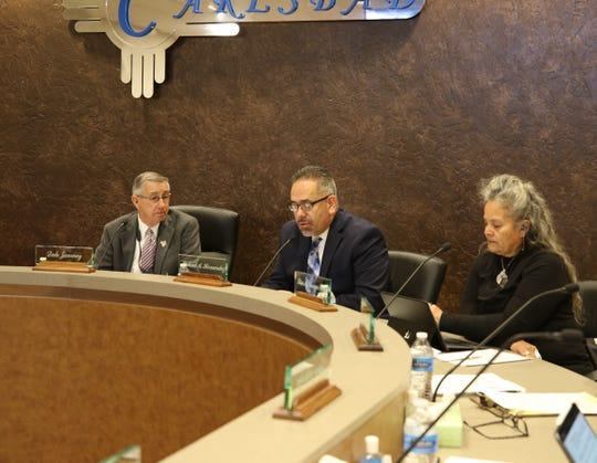 From left: Carlsbad Mayor Dale Janway, City Administrator Michael Hernandez and Ward 1 City Councilor Lisa Anaya-Flores during the Dec. 11 Carlsbad City Council meeting.