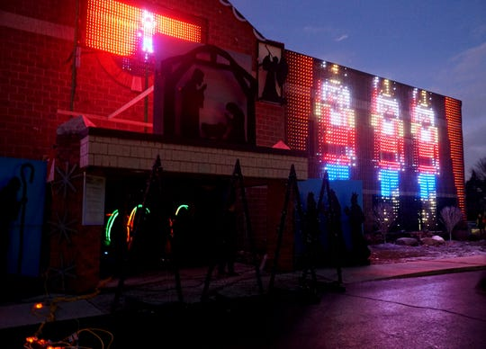 A still moment of the animated light display at the Northville Christian Assembly Church on Six Mile Road.