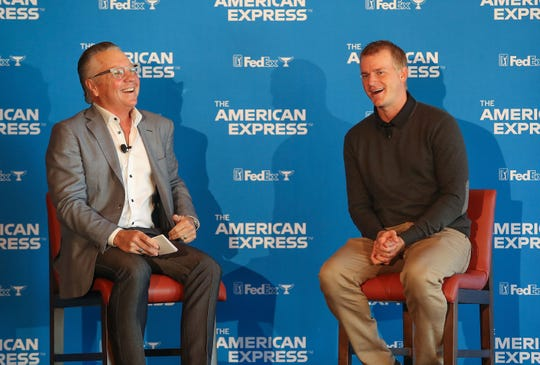 Defending champion Adam Long, right, is interviewed by Jeff Sanders, the executive director of The American Express golf tournament, during a press conference at PGA West in La Quinta, December 11, 2019.