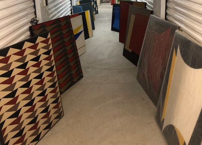 Artwork by Maria Eugenia Casuso lines the halls at Palm Springs Airport Self Storage facility.