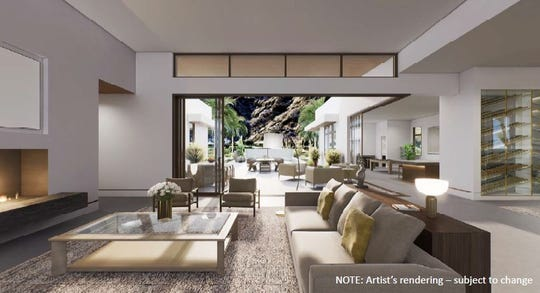 Rendering of the living room area of one of the Montage residential units planned for SilverRock Golf Resort in La Quinta. Four models, ranging 4,555 to 6,045 square feet and three to six bedrooms are planned. The city's Planning Commission on Tuesday, December 10, 2019, approved a tentative tract map for 29 residential units to be built in addition to the 134-room Montage hotel.