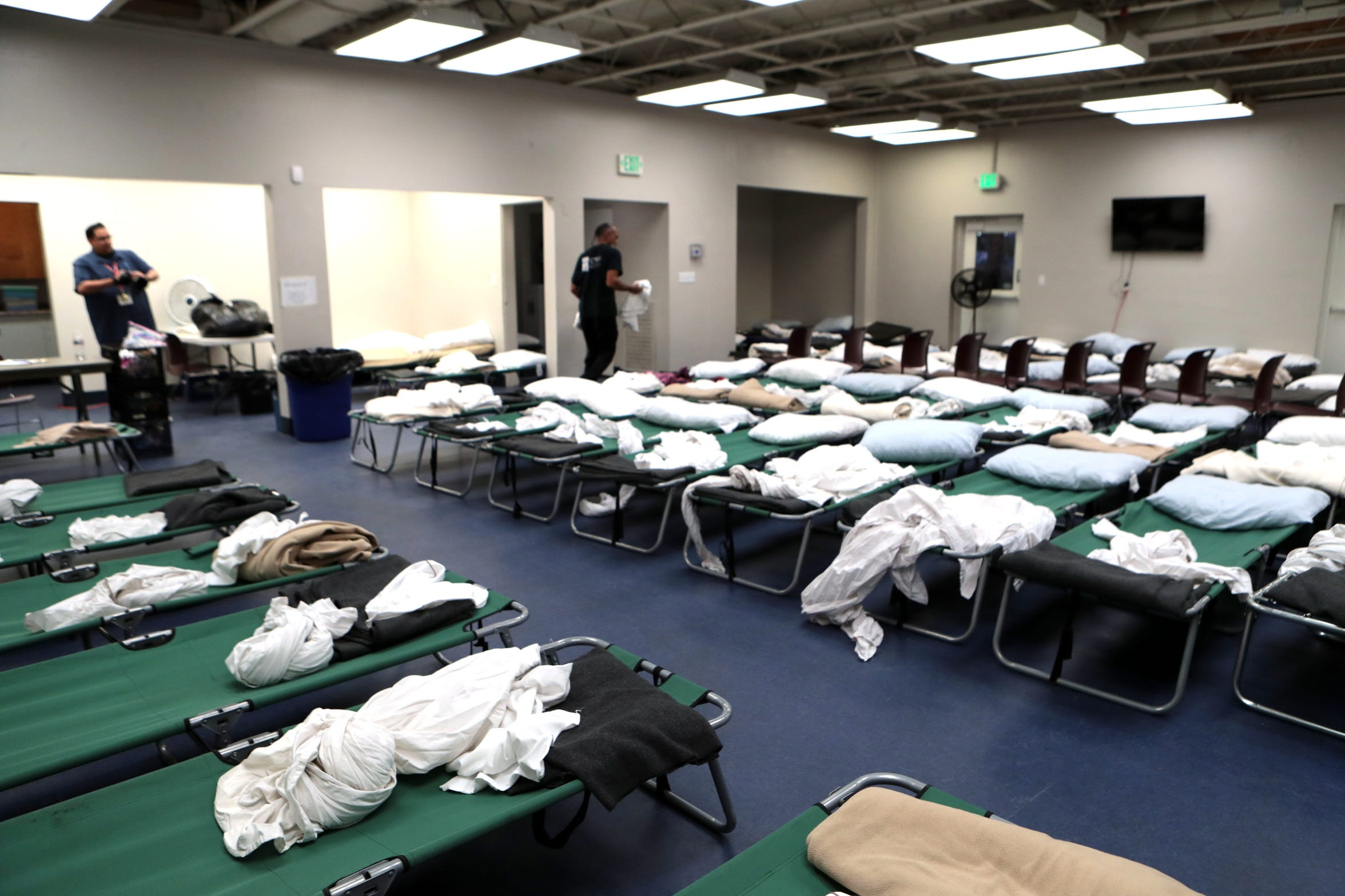 Coachella Valley Rescue Mission began operating an emergency overnight shelter at the former Boxing Club in Palm Springs, Calif., in July of 2019. The doors open at 7pm. Women and people with physical disabilities are allowed in first.