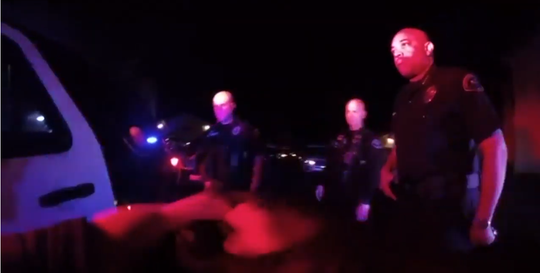 Cathedral City Police Department body camera footage from January 2019, shows Chief Travis Walker get in a scuffle with a handcuffed suspect.