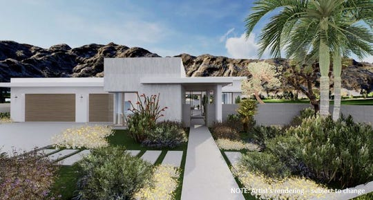 Rendering of the front elevation of one of the Montage residential units planned for SilverRock Golf Resort in La Quinta. Four models, ranging 4,555 to 6,045 square feet and three to six bedrooms are planned. The city's Planning Commission on Tuesday, December 10, 2019, approved a tentative tract map for 29 residential units to be built in addition to the 134-room Montage hotel.