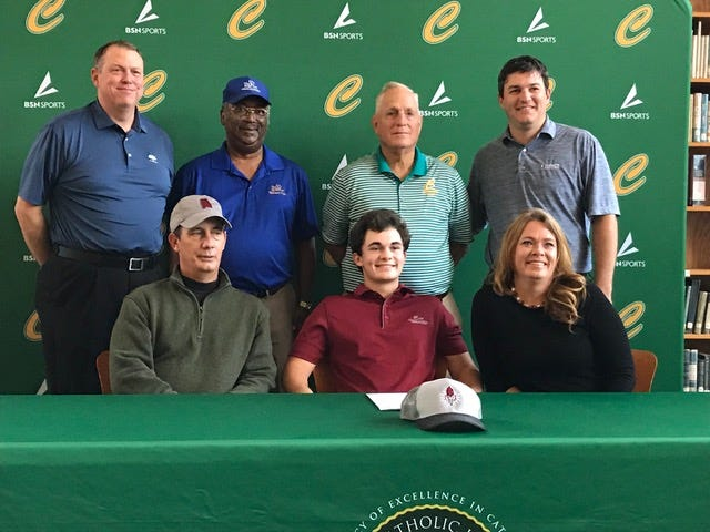(From front left) Matt Dimitroff, Nick Dimitroff, Sarah Dimitroff, (back) First Tee's Marty Stanovich, short game coach Billy Brent, Catholic golf coach John Walker and swing coach Ryan Maddox at Nick's signing with Coastal Alabama on December 10, 2019.