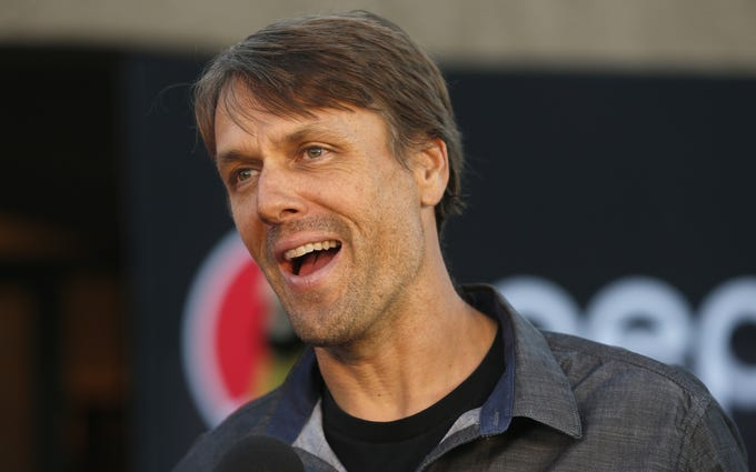 Jake Plummer, representing Pat Tillman, talks to the press before the Arizona Sports Hall of Fame induction ceremony at the Scottsdale Plaza Resort in Scottsdale, Ariz. on November 1, 2018.