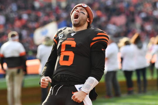Browns quarterback Baker Mayfield (6) fires up the crowd before a game against the Bengals on Dec. 9.