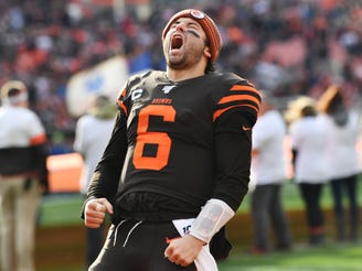 Cleveland Browns quarterback Baker Mayfield (6) faces the Arizona Cardinals on Sunday. Will he lead his team to a victory?
