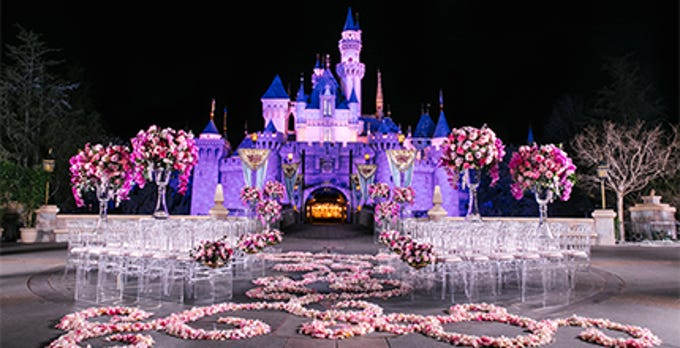 You'll need at least $180,000 to have an evening wedding in front of Sleeping Beauty Castle at Disneyland.