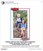 Lacey Rawlings announced that a funeral will be held for two of her children on Dec. 13, 2019 — two weeks after they were swept away in Tonto Creek.