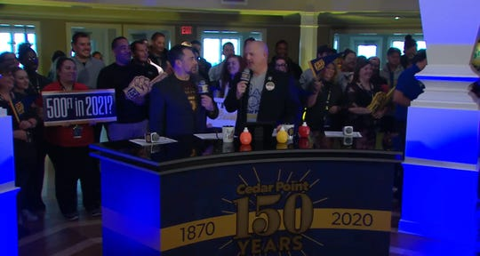 Jason McClure, general manager and vice president of Cedar Point, and Tony Clark, director of communications, announced new attractions coming for the 150th anniversary season in 2020 in a broadcast live on YouTube.