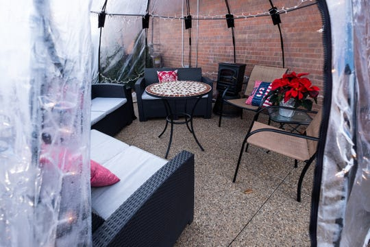 One of the igloos available for guests at Four Star Grille in Marysville is set up to be used as a lounge.