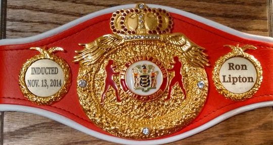 The commemorative New Jersey Boxing Hall of Fame belt that was presented to Ron Lipton after his 2014 induction.