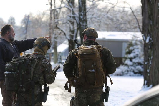 Law enforcement respond to a barricaded individual in the Town of Wappinger on Osborne Hill Road as seen on Wednesday, Dec. 11, 2019.