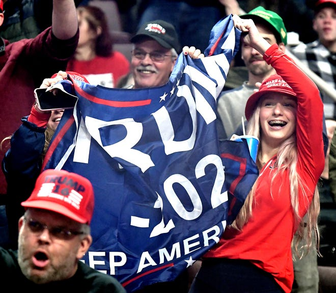 "Supporters cheer during President Donald Trump's ""Keep America Great"" rally at the Giant Center in Hershey Tuesday, Dec. 10, 2019. The arena was at capacity for the president's appearance. Bill Kalina photo"