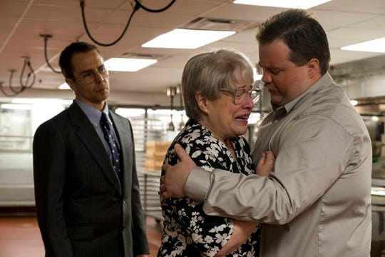 """From left, Sam Rockwell, Kathy Bates and Paul Walter Hauser star in """"Richard Jewell."""" The movie opens Thursday at Regal West Manchester, Queensgsate Movies 13 and R/C Hanover Movies."""