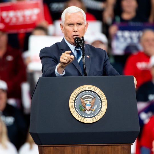 Vice President Mike Pence assures the crowd that President Donald Trump is and always has been for the people during the President Donald Trump rally in Giant Center in Hershey, Pennsylvania, December 10, 2019.