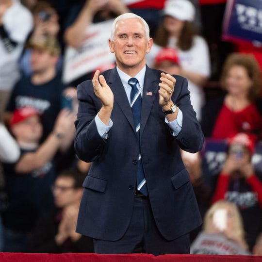 Vice President Mike Pence takes the stage during the President Donald Trump rally in Giant Center in Hershey, Pennsylvania, December 10, 2019.