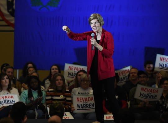 Elizabeth Warren speaks at the Truckee Meadow Community College in Reno, Nev. on Tuesday Dec. 10, 2019.