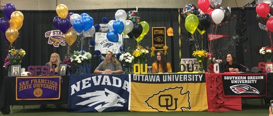Four high school seniors signed to play softball in college this week. Rylie Miller, McQueen, San Francisco State, Cailyn Leone of Reed, going to Southern Oregon, Bella Kordonoway, Carson, going to Nevada and Jillian Kygar of Reed going to Ottawa.