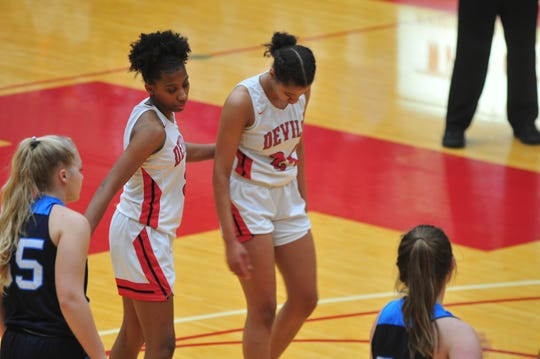 Sisters Alayha (24) and Jayci (3) Allen averaged a combined 12.9 points per game and 17.4 rebounds per game ahead of Tuesday night's 36-33 over Franklin County.