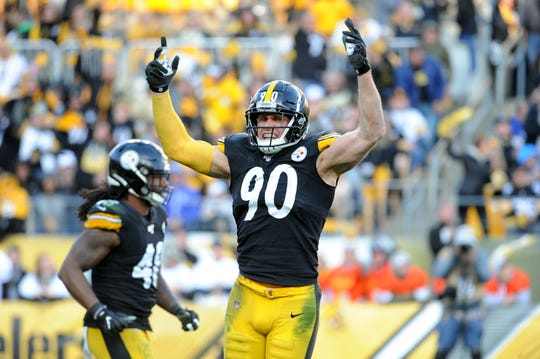 Pittsburgh Steelers linebacker T.J. Watt (90) celebrates a sack against the Indianapolis Colts.