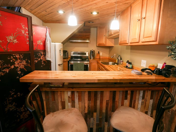 A tiny kitchen area in this small house in the 19th Ward.