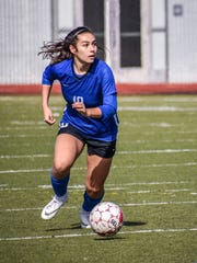 Junior forward Haley Bramante has her eyes looking downfield against Lowell in last season's CIF State Division V final on March 2, 2019.