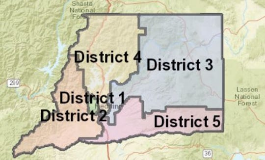 This map shows how Shasta County is broken into five Districts for the county's Board of Supervisors.