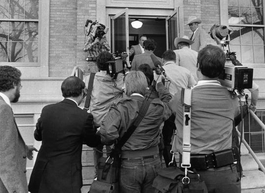 Media from across the nation floods the Tom Green County Courthouse during the murder trials against Henry Lee Lucas in this archived Standard-Times photo from March 12, 1984.