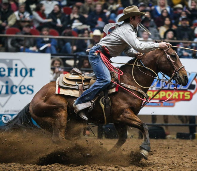 San Angelo's Ty Harris competes during the San Angelo Rodeo in 2019.