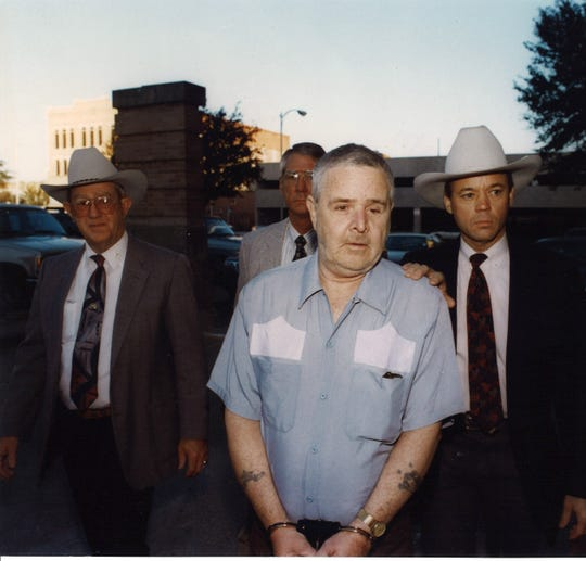On Jan. 8, 1996, Henry Lee Lucas is brought to the O.C. Fisher Federal Building as his attorneys attempt to overturn his 1984 murder conviction.