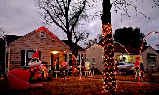 The display at 1315 S. David Street features several inflatable attractions as well as lights as seen in this Tuesday, Dec. 11, 2019 photo.