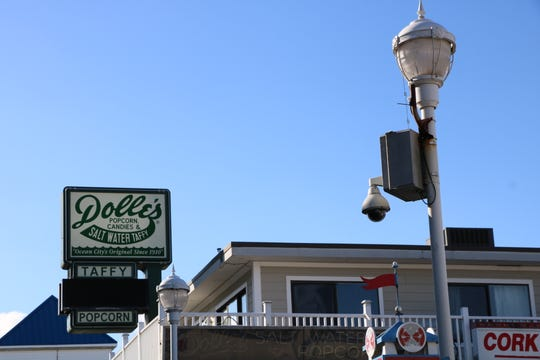 One of Ocean City's CityWatch cameras surveys the Boardwalk near Dolle's and Wicomico Street on Dec. 5, 2019.