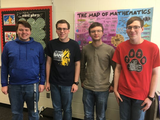 Jacob Jorgenson, Henry Heiberger, Luke Feeken and Harry Heiberger finished second place at the Dordt University  National Honor Society Math Challenge.