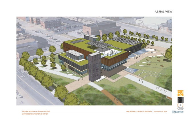 Initial conceptual design images show what a Virginia Museum of Natural History interpretative facility in downtown Waynesboro might look like.
