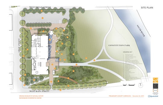 A preliminary map design showing what the Waynesboro campus of the Virginia Museum of Natural History might look like.