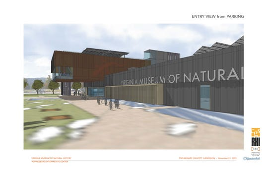 A concept image shows what the front of the Virginia Museum of Natural History's Waynesboro campus could look like.