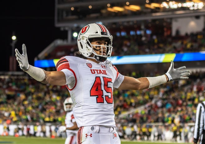 Utah Utes wide receiver Samson Nacua accepts love from the Utah Utes fans during the PAC 12 Championship game between the Utah Utes and the Oregon Ducks on Friday, December 6, 2019 at Levi's Stadium in Santa Clara, California.