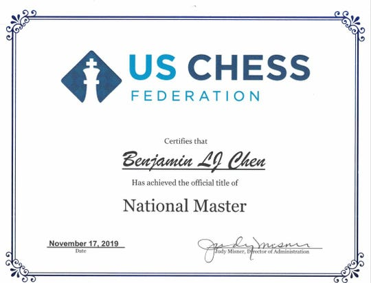Chiles High School student Ben Chen is ranked as a national master by the U.S Chess Federation.