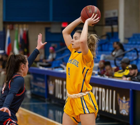 TCC freshman guard Polina Nikulochkina looks for an open teammate from the wing.
