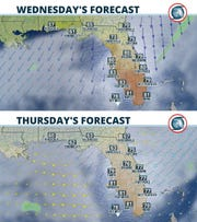 Two-day forecast for Florida as a cold front moves through Dec. 11, 2019, keeping northern third of the state cool.