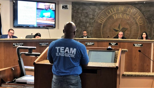 Nitashanta Hagans, an employee of El Paso Electric's Protection and Control Department, speaks against municipalization of the electric utility at the Dec. 10 El Paso City Council meeting.