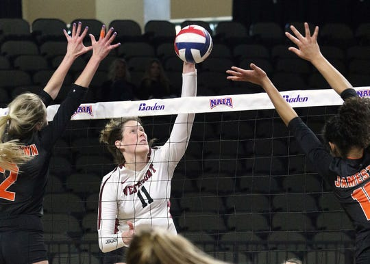 Right side Cassidy Rea, a Buena High graduate, led the NAIA national finalist Westmont College women's volleyball team with 3.47 kills per set as a senior.