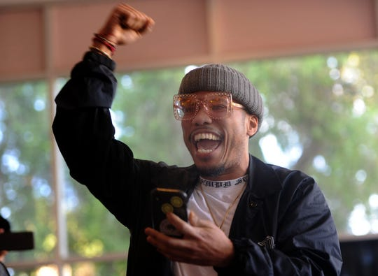 Rapper and musician Anderson .Paak jams with the dance troupe Hip Hop Mindset Wednesday at the Oxnard Performing Arts and Convention Center.