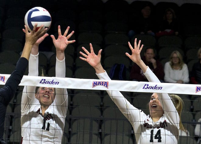 Senior Cassidy Rea, left, a Buena High graduate, and freshman Lexi Malone, a Foothill Tech graduate, guided the Westmont College women's volleyball team to its first berth in the NAIA national championship game last Saturday in Sioux City, Iowa.