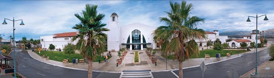 The original 1930s terminal is visible to the far right in this panoramic view of the enlarged Santa Barbara Airport terminal that opened in 2011.
